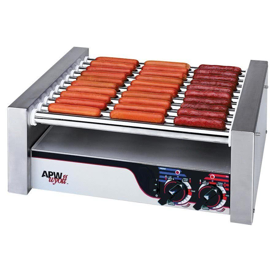 "Wyott HR-20S Hot Dog Roller Grill 13""W - Slant Top 120V by TableTop king"