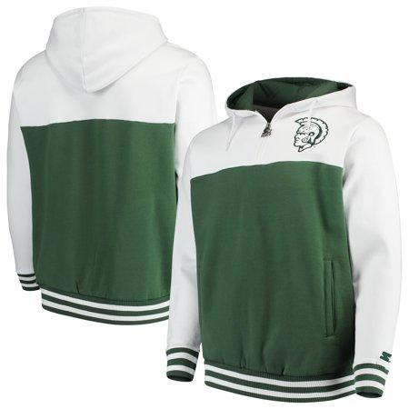 Michigan State Spartans Starter Academic Quarter-Zip Pullover Hoodie - Green/White
