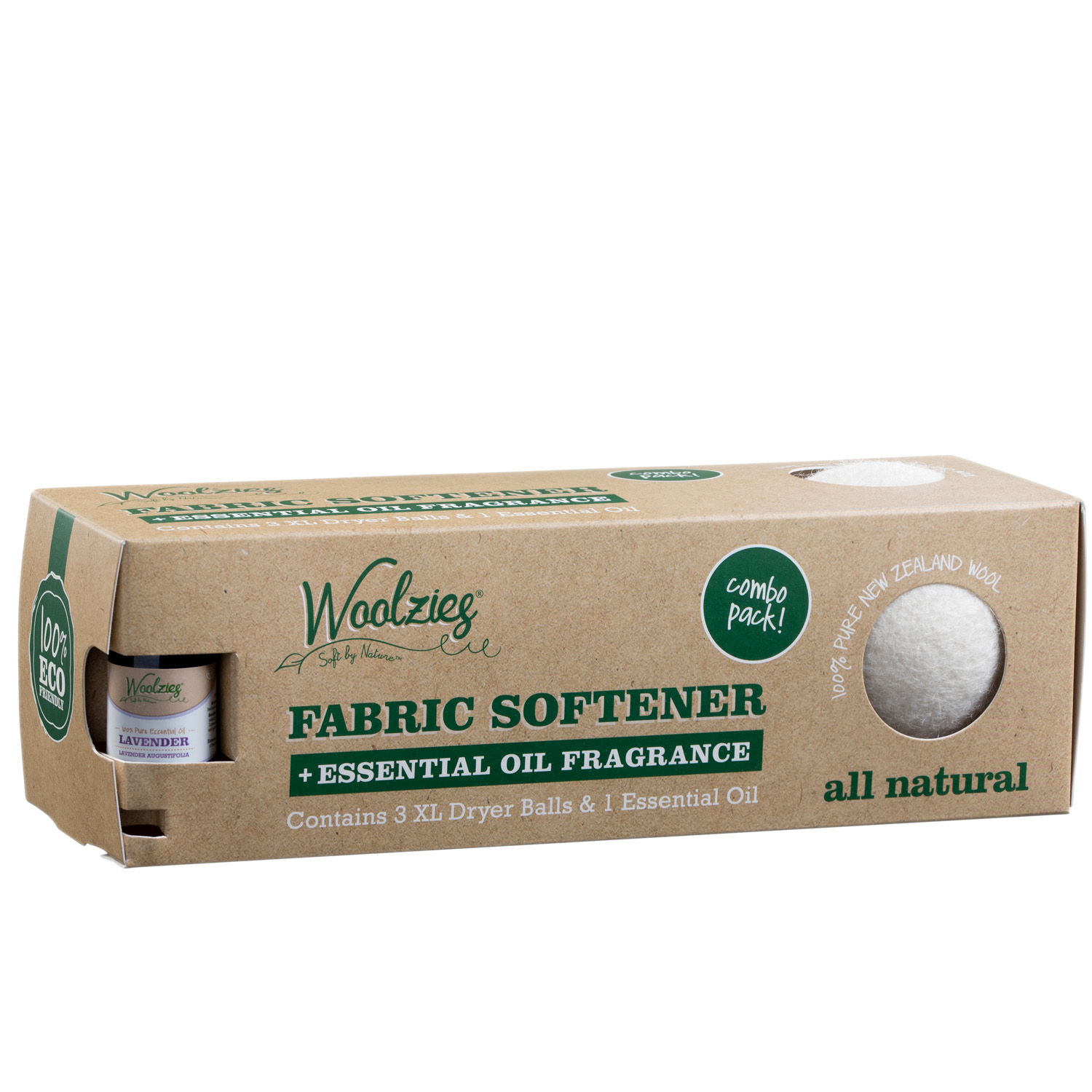 Woolzies wool dryer balls set of 3 & Lavender essential oil -Combo Pack