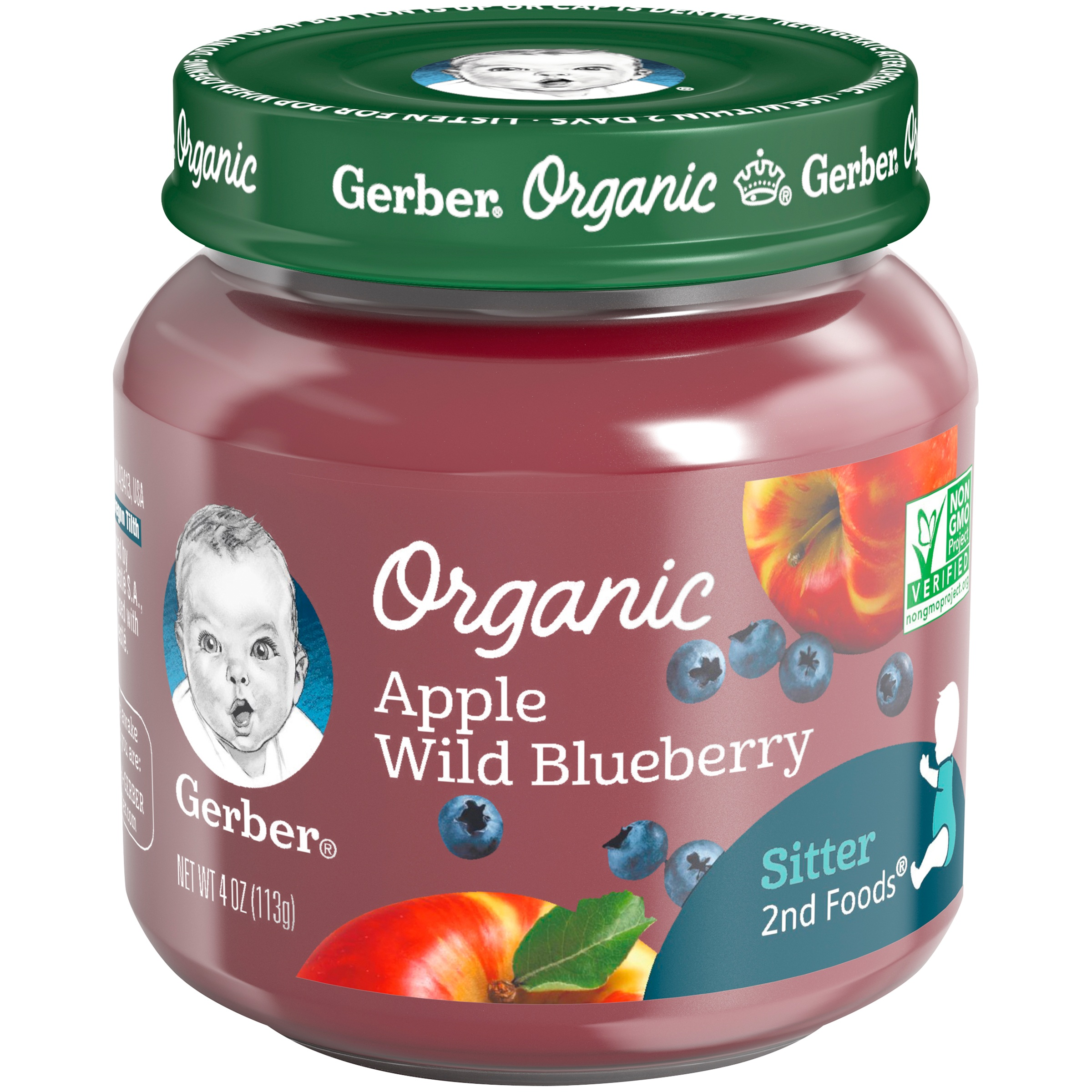 Gerber Organic 2nd Foods Apple Wild Blueberry Baby Food, 4 oz. Glass Jar (Pack of 6)