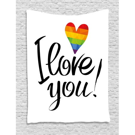 Pride Decorations Tapestry, I Love You Letters with Polygonal Rainbow Color Heart Gay Lesbian Couples, Wall Hanging for Bedroom Living Room Dorm Decor, 60W X 80L Inches, Multicolor, by - I Love You Decorations