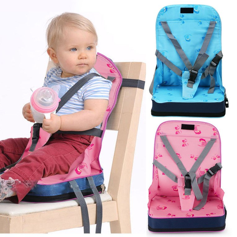 Portable Baby Toddler Dining Feeding Chair Foldable Booster Seat Safety Strap