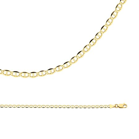 - Mariner Anchor Necklace Solid 14k Yellow Gold Chain Flat Link Polished Style Genuine, 3.4 mm - 16,18,20,22,24 inch