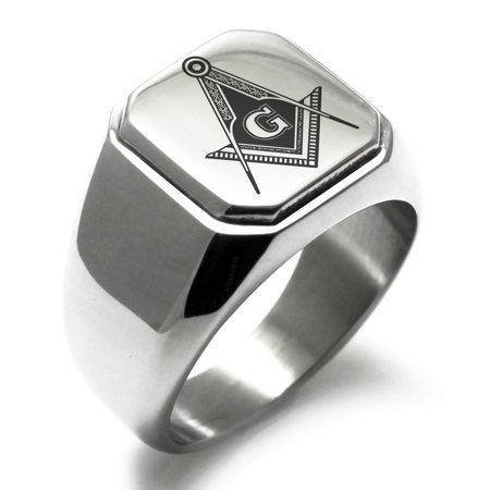 Stainless Steel Freemasons Masonic Royal Compass Engraved Square Flat Top Biker Style Polished Signet (Masonic Signet Ring)