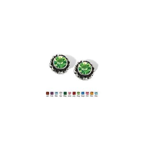PalmBeach Jewelry 5380708 Birthstone Stud Earrings in Sterling Silver August - Simulated Peridot