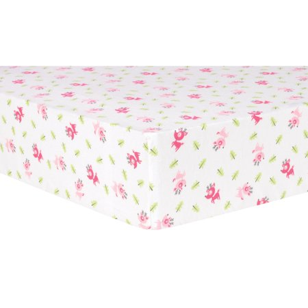 Pink Reindeer Deluxe Flannel Fitted Crib Sheet Walmart Com
