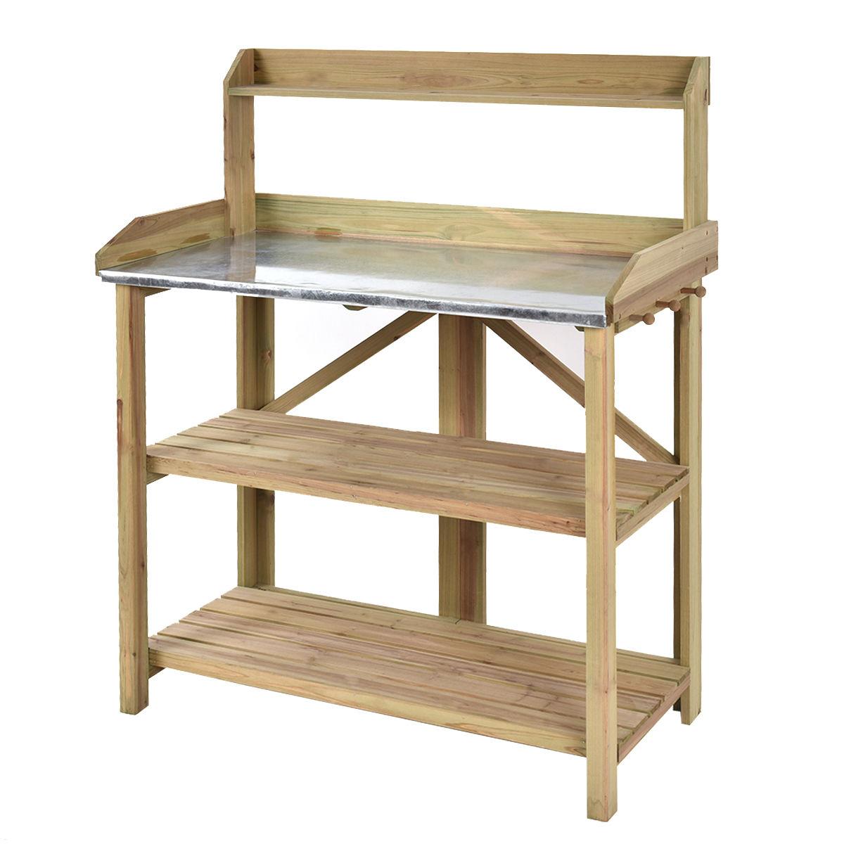 "GHP Outdoor 41.3""Lx19.3""Wx47.8""H Solid Fir Wooden Garden Potting Bench/Workstation"