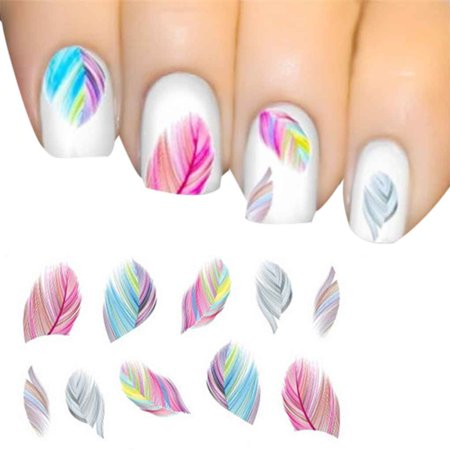 Nail Feather Art Water Transfer Decal Sticker Rainbow](Christmas Nail Decals)