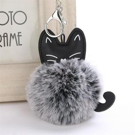 8CM Cute Cat Keychain Pendant Women Key Ring Holder Pompoms Key Chains - Safety Cat Keychain