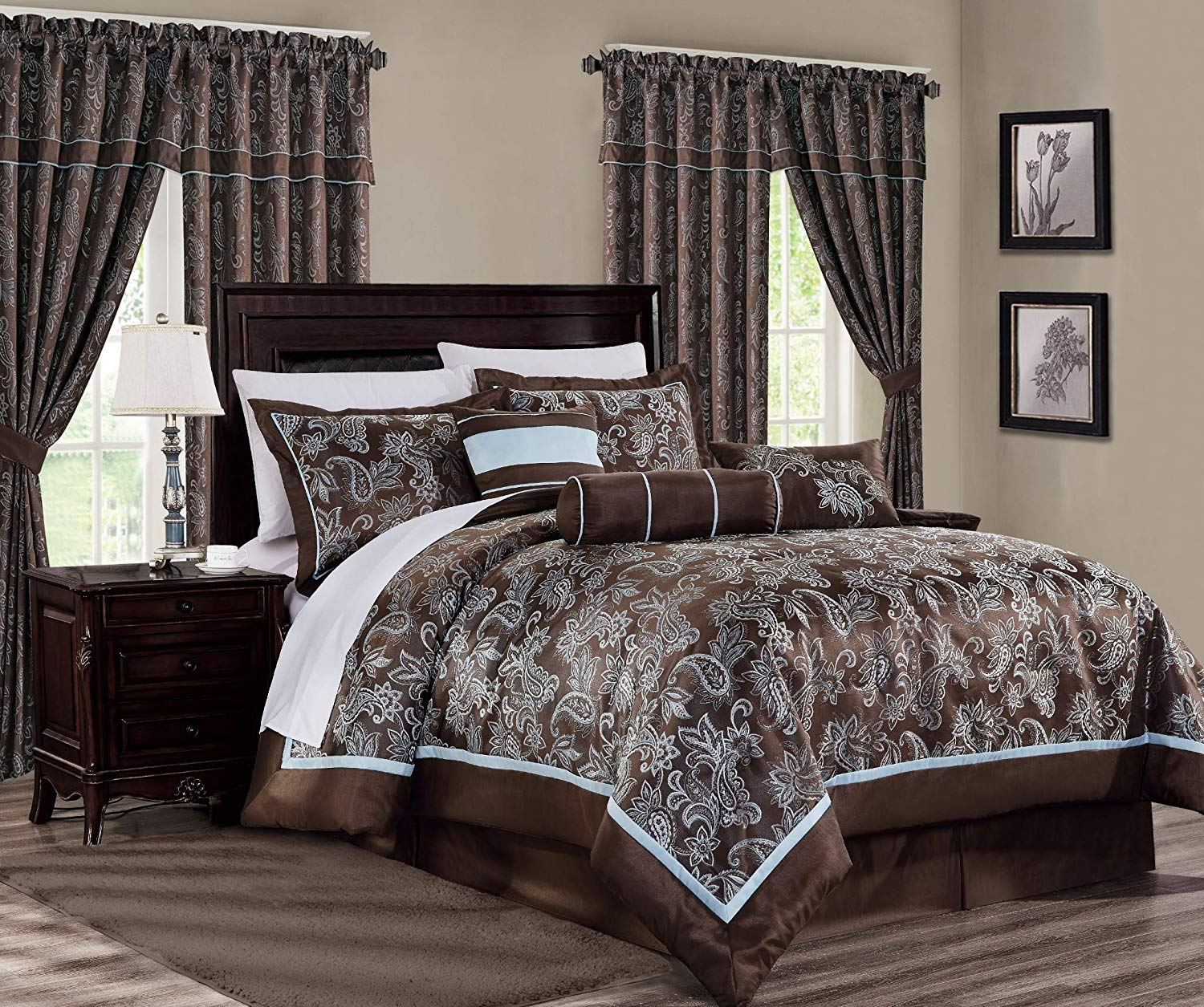 Chezmoi Collection Tuscany 7-Piece Blue Brown Paisley ...