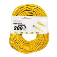 12/3 200ft SJTW 15 AMP 125 Volt 1875 Watt Lighted End Heavy Duty Indoor Outdoor Extension Cord (200 Feet)