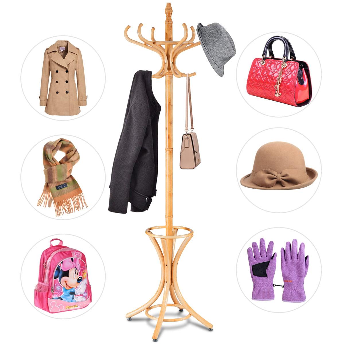 Gymax Wood Standing Hat Coat Rack Jacket Bag Hanger Tree 12 Hooks