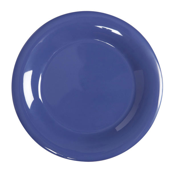 Diamond Mardi Gras 12 inch Wide Rim Plate Peacock Blue Melamine/Case of 12