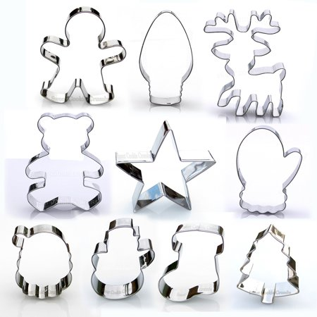 Christmas Cookie Cutter Set - 10 Piece Stainless Steel](Walmart Cookie Cutters)