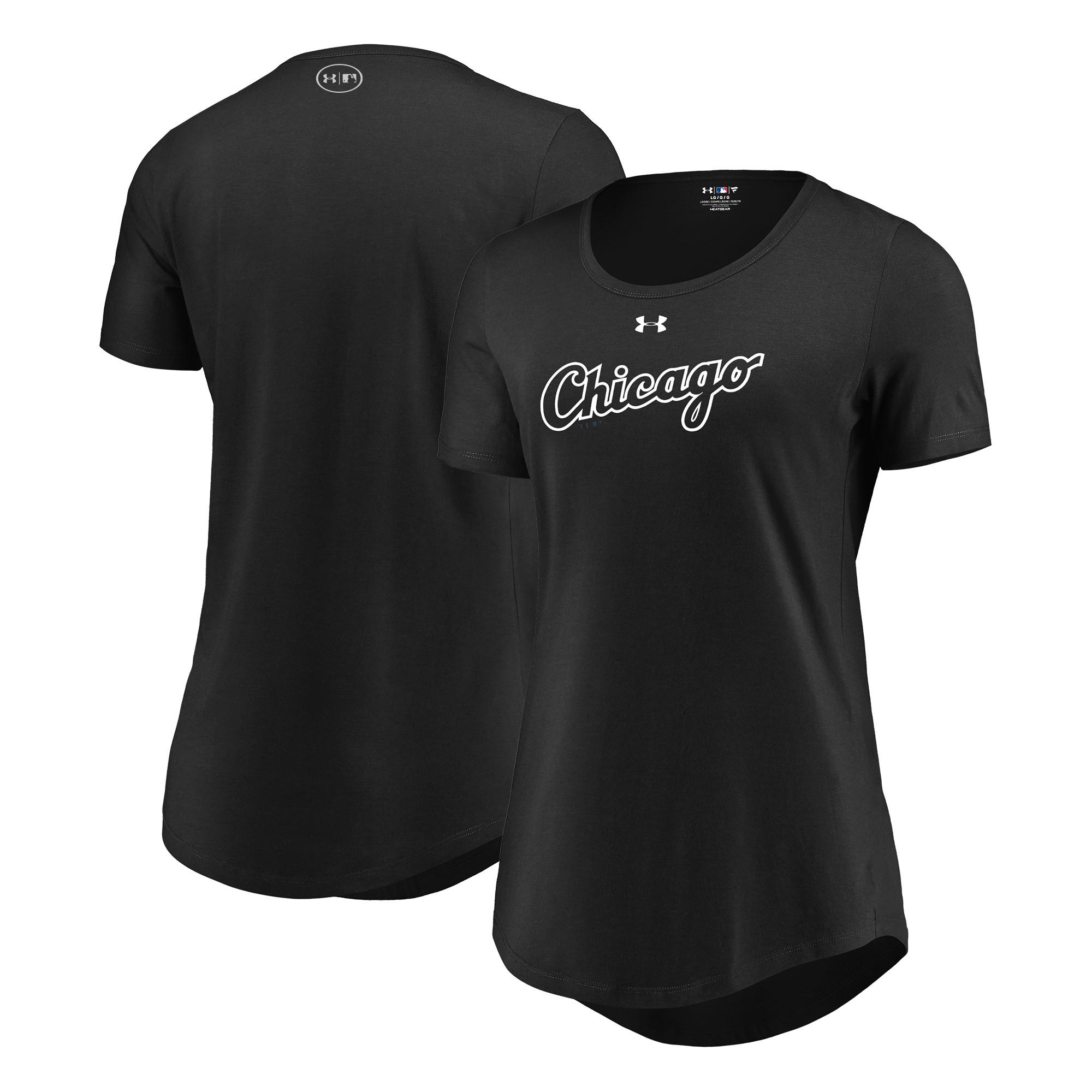 Chicago White Sox Under Armour Women's Passion Road Team Font Scoop Performance Tri-Blend T-Shirt - Black