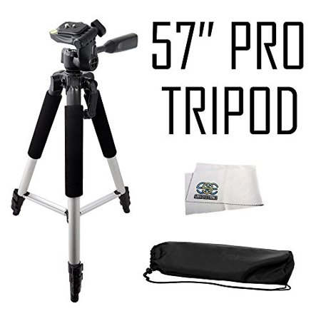 Professional 57-inch Tripod 3-way Panhead Tilt Motion with Built In Bubble Leveling for Canon, Nikon, Sony, Pentax, Sigma, Fuji, Olympus, Panasonic, JVC, Samsung Cameras (Tripods For Digital Cameras Jvc)