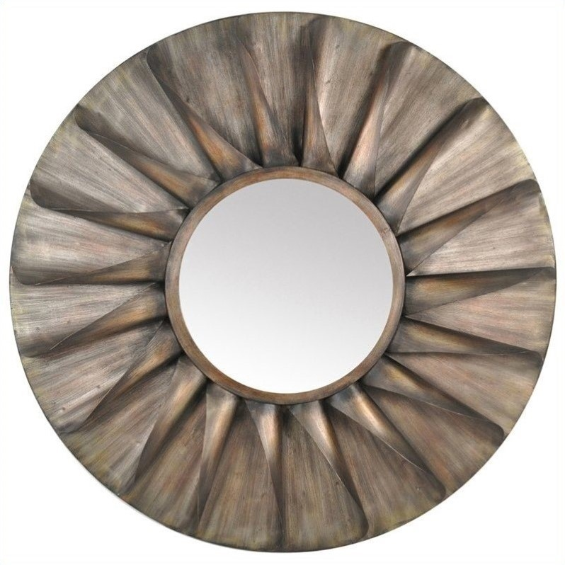 Moe's Round Iron Mirror Antique in Brown