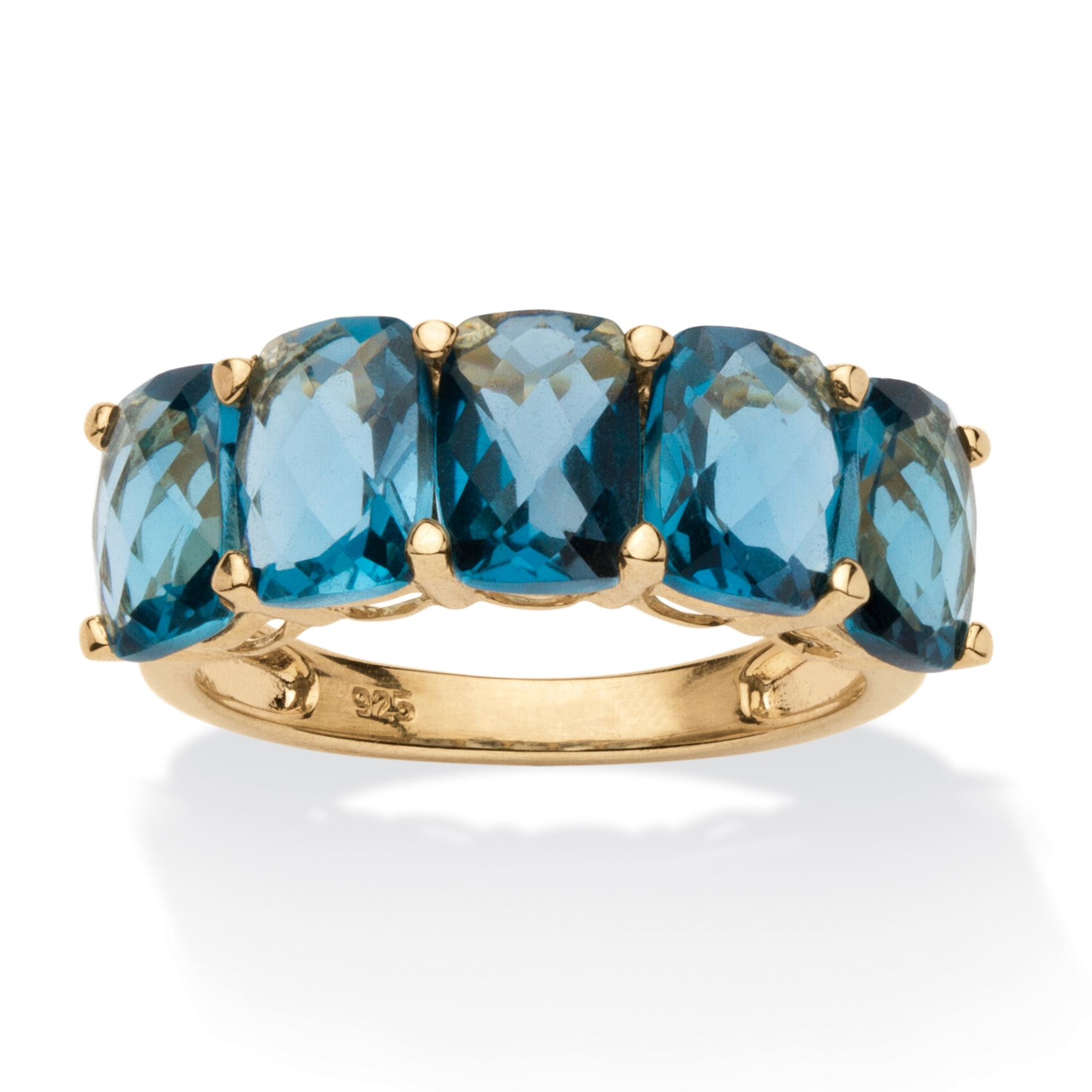 5 TCW Oval-Cut London Blue Genuine Topaz 18k Gold over Sterling Silver Ring by PalmBeach Jewelry