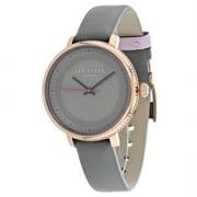 10031534 Women's Grey Leather Bracelet With Grey Analog Dial Watch NWT
