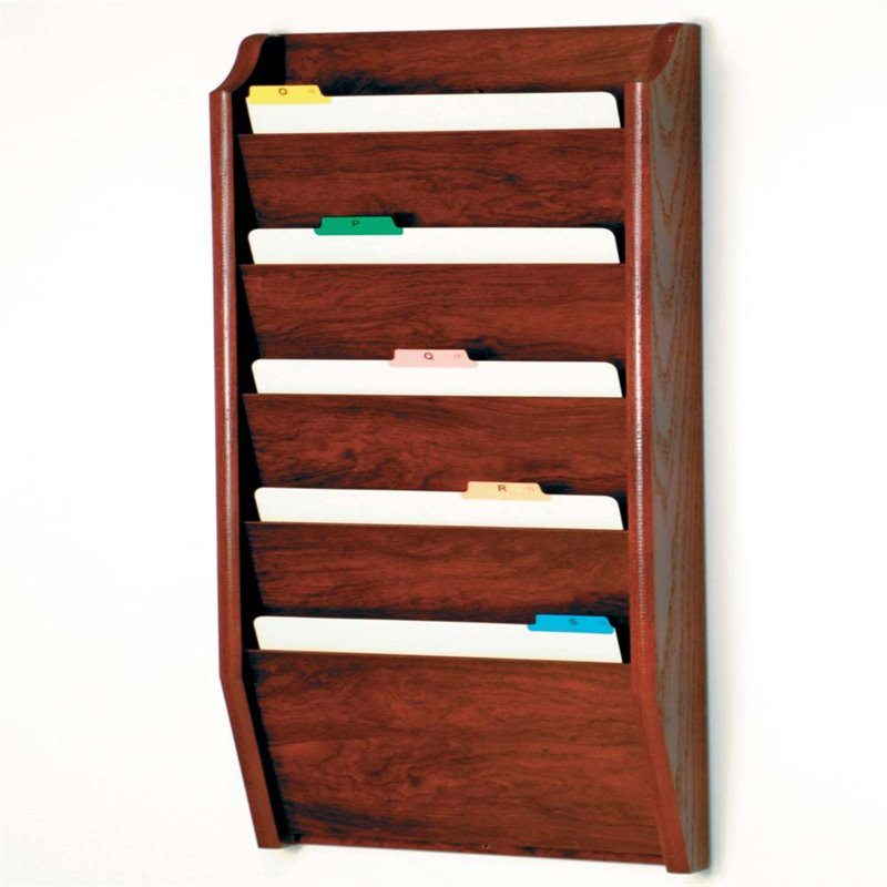 Scranton & Co 5 Pocket Legal Size Wall File Holder in Mahogany