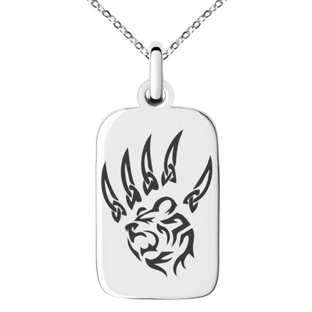 Stainless Steel Ferocious Bear Claw Engraved Small Rectangle Dog Tag Charm Pendant Necklace Chicago Bears Dog Tag