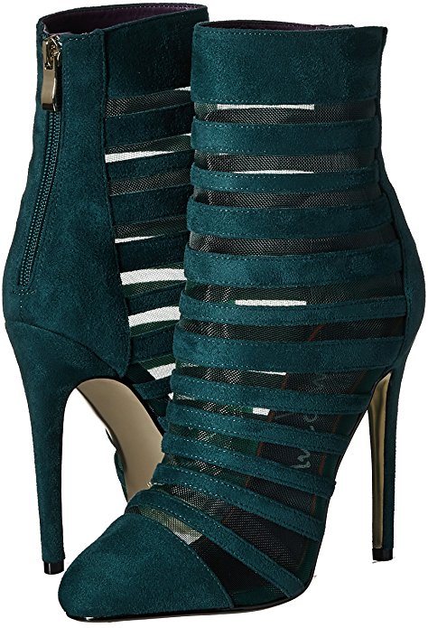 Luichiny Carried Away Emerald Green Sheer Mesh Slits High Heel Sexy Dress Bootie (6) by