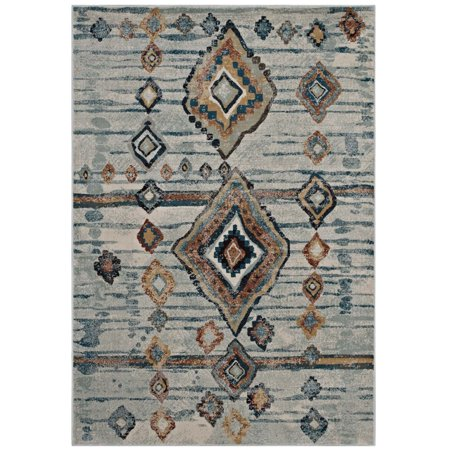 Image of Modway Jenica Distressed Moroccan Tribal Abstract Diamond 8x10 Area Rug in Silver Blue, Beige and Brown