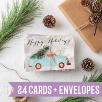 Rose Gold Marble Christmas Cards - 24 Folded Cards with Envelopes   Beautiful Blush Pink Gold Christmas & New Years Cards   Blank Inside   Bulk Wholesale Box Made in the USA