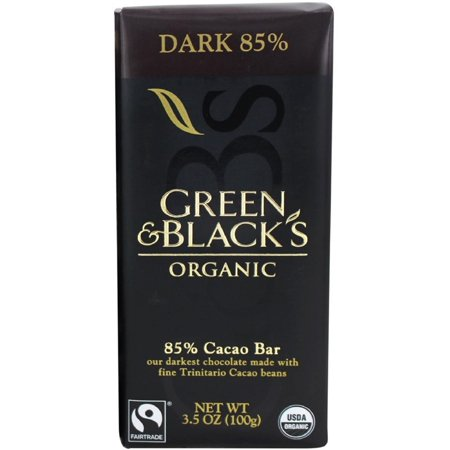 Green & Black's Organic Dark Chocolate Bar, 3.5 oz bars, 85% Cacao, 10 bars (Pack of 2) (Chocolate Bars Organic)