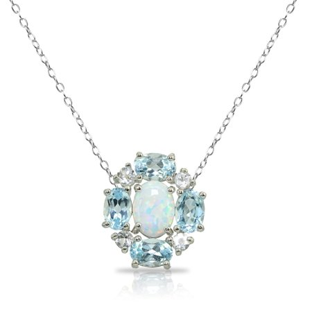 Simulated Opal & Blue Topaz Oval Necklace with White Topaz Accents in Sterling Silver ()