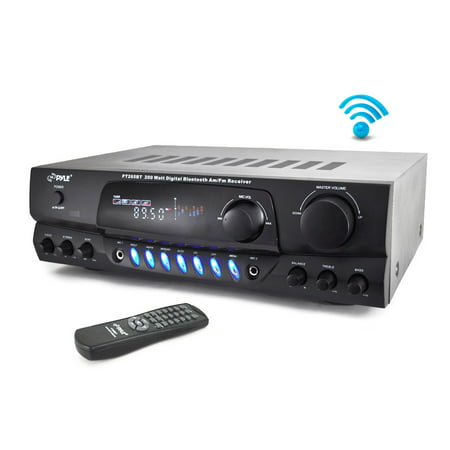 PYLE PT265BT - Home Theater Bluetooth Receiver Amplifier with AM/FM Radio & Two Microphone Inputs for Karaoke Mixing, 200
