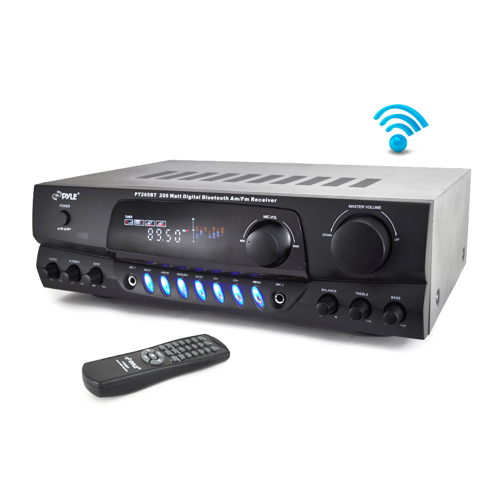 PYLE PT265BT - Home Theater Bluetooth Receiver Amplifier with AM/FM Radio & Two Microphone Inputs for Karaoke Mixing, 200 Watt