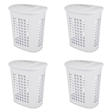 Sterilite, 2.3 Bushel/81 L LiftTop Laundry Hamper, White, Case of 4 ()
