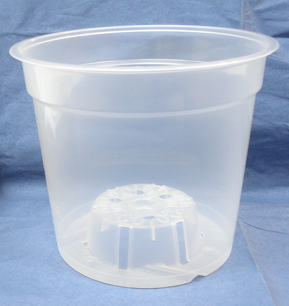 Clear Plastic Teku Pot for Orchids 6 inch Diameter - Quantity 3