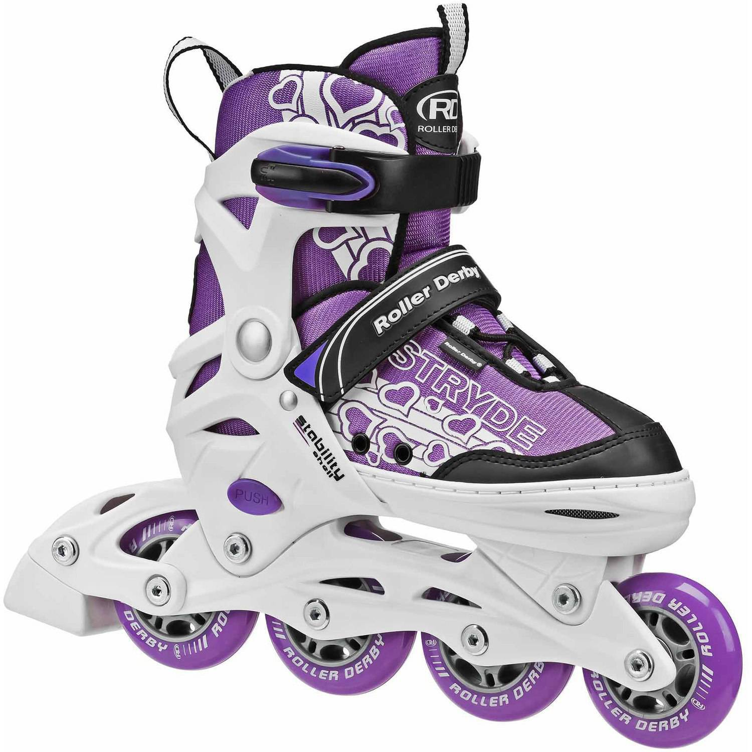 Stryde Girls' Adjustable Inline Skates, Purple/White