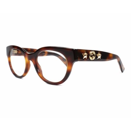 61f2addac9dea Gucci GG0209O 002 Eyeglasses Havana Brown Gold Frame 48mm - Walmart.com