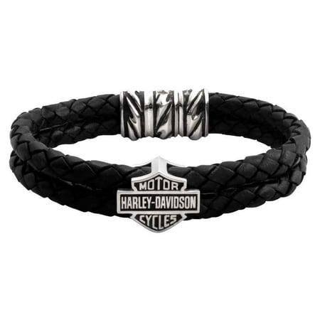 Harley Davidson Men S Bar Shield Double Leather Cord Bracelet Hdb0246 8 5