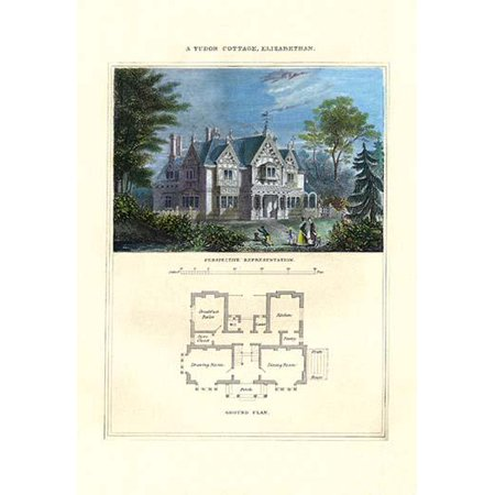 Cottages & Villas of the English Countryside in the adaptation from foreign influences in design with a painting of the home and a basic first floor plan Poster Print by Richard