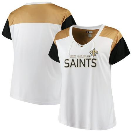 Women's Majestic White/Black New Orleans Saints Lace-Up V-Neck T-Shirt