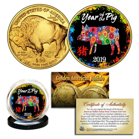 2019 Lunar YEAR OF THE PIG 24K Gold Clad American Buffalo Tribute Coin
