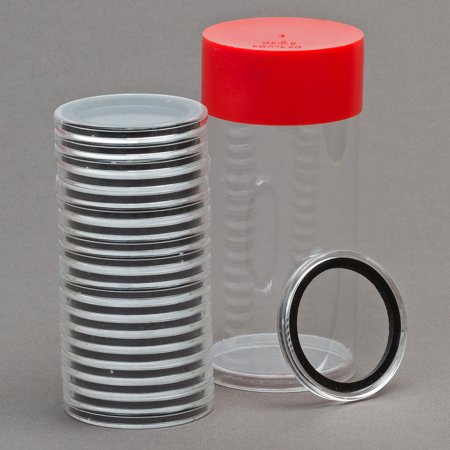 (2) Airtite Coin Holder Storage Container & (20) Black Ring 26mm Air-tite Coin Holder Capsules for SBA Susan B Anthony Sacagawea Small Presidential Dollars Anthony Dollar Roll 20 Coins