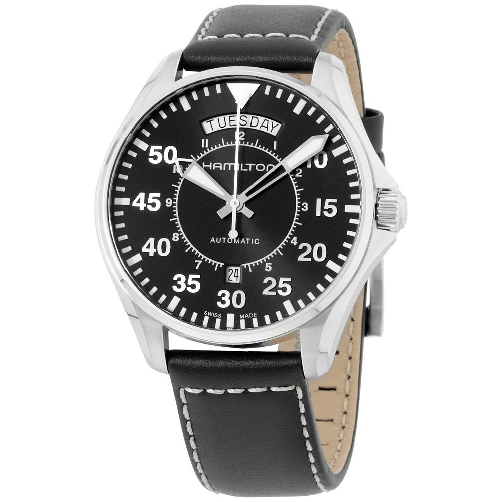Hamilton Khaki Pilot Black Dial Leather Strap Men's Watch H64615735 by Hamilton