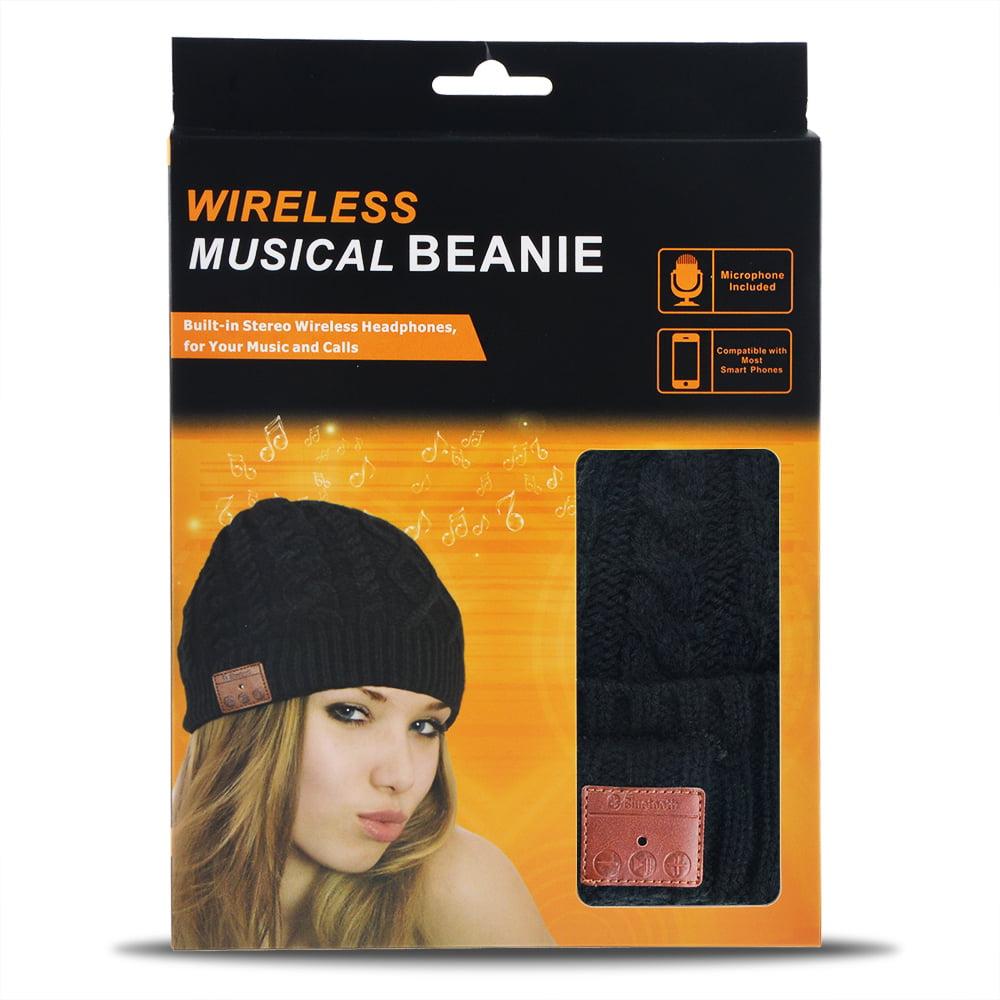 Pvendor Bluetooth Beanie Hat with Headphone Wireless Beanie Headphones Musical Knit Headset Speaker Speakerphone Cap for Men Women Black