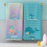 Personalized Bathtime Fun Towel Set - Available in 4 Designs, Sold Individually or as a Set