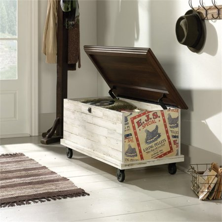 Pemberly Row Rolling Trunk Coffee Table in White Plank - image 6 of 9