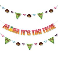 fc98ca38f89f Product Image Tiki Luau - Tropical Hawaiian Summer Party Letter Banner  Decoration - 36 Banner Cutouts and Aloha