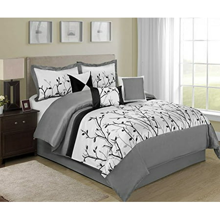 7 piece willow braches printing and embroidered clearance bedding comforter set fade resistant. Black Bedroom Furniture Sets. Home Design Ideas