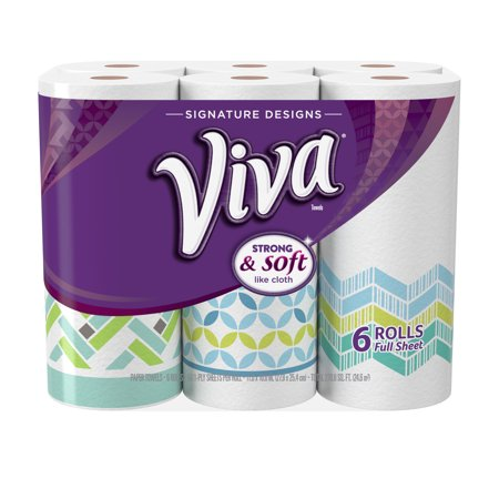 Viva Signature Designs Full Sheet Paper Towels  Print  6 Big Rolls