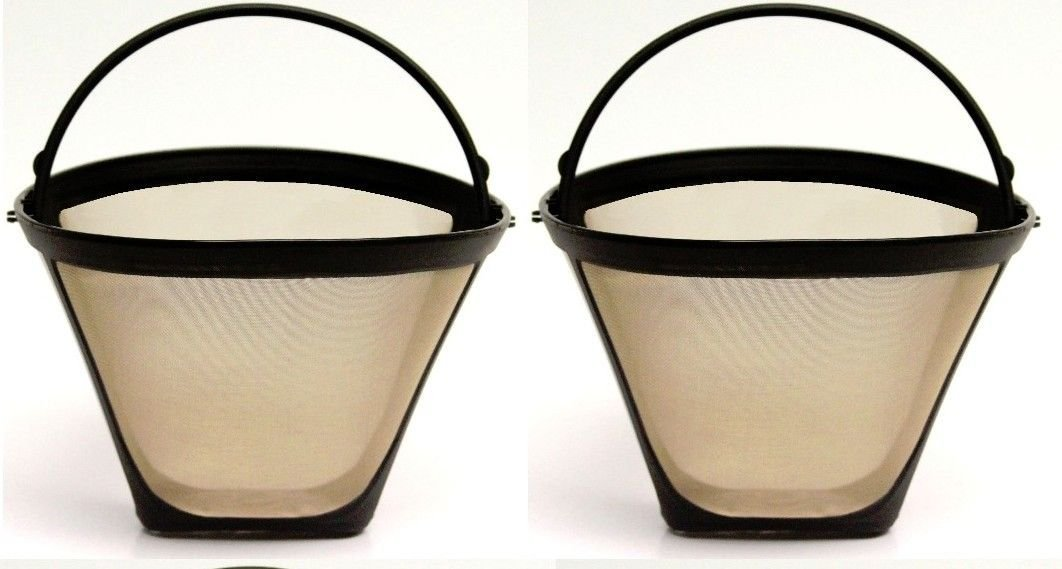 2 PACK Universal Gold Tone Permanent #4 Cone Coffee Filter Cuisinart, Krups 214 by