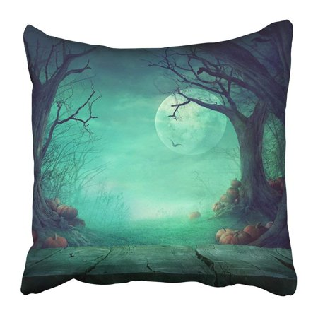 ARTJIA Blue Halloween Spooky Forest with Dead Trees and Pumpkins and Wooden Table Wood Design with Black Pillowcase Pillow Cushion Cover 20x20 inch